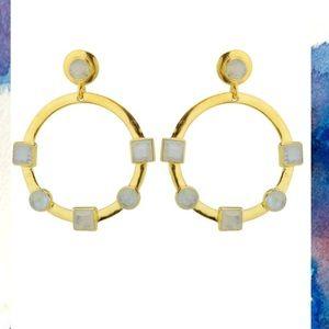 Karen London moonstone hoop earrings
